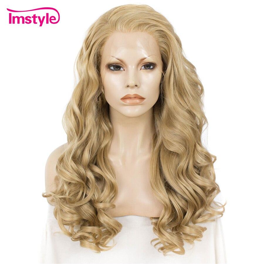 Imstyle Longo Louro Ondulado Peruca Dianteira Do Laço Perucas Para As Mulheres de Fibra Resistente Ao Calor Peruca Sintética Do Laço 24 polegada Longo Natural cabelo Cosplay