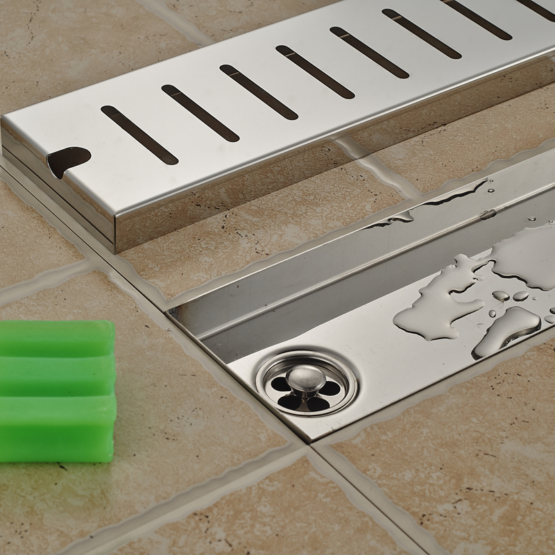 90CM Stainless Steel Rectangle Floor Shower Drain Large Water Flow Pane Shower Channel Drainer-in Drains from Home Improvement    2
