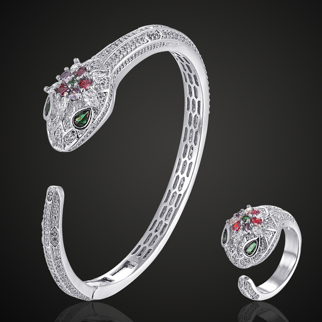 Zlxgirl Luxury brand Guangdong plated color colorful cubic zircon snake bangle with ring jewelry sets fashion women size bangle
