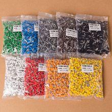 100 шт./лот E1508 набор наконечников для Купера, набор проводов, медный обжимной соединитель, Изолированный Шнур, контактный концевой наконечник, 5 цветов VE1508