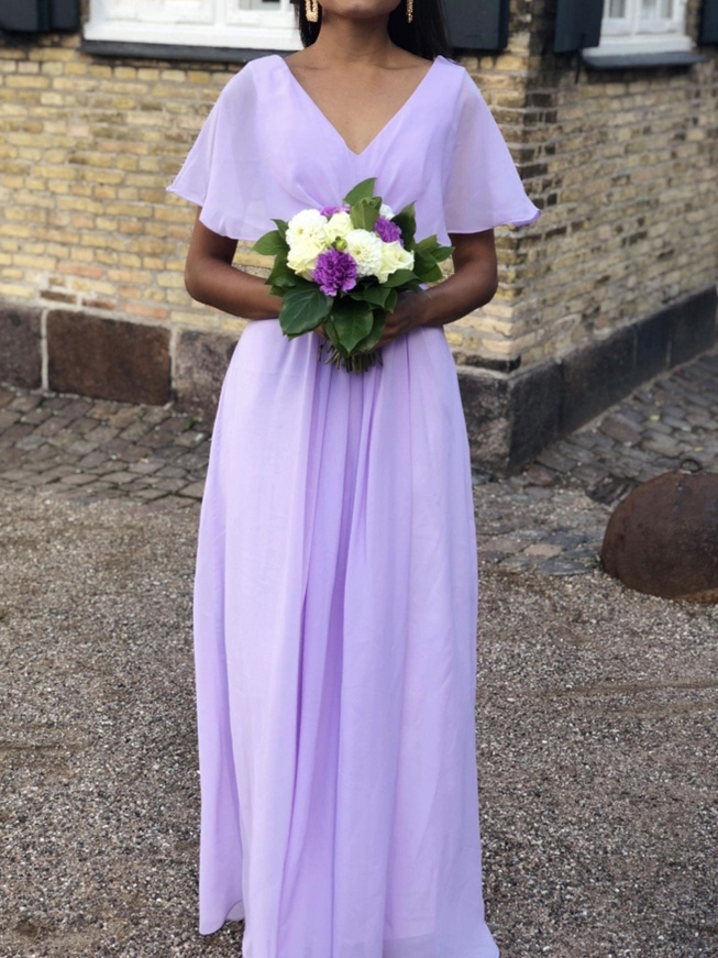 Real Pictures Robe Honneur Long Lilac Bridesmaid Dresses Short Sleeves V Neck Floor Length Chiffon Bridesmaid Gown Free Shipping