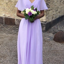 Real Pictures robe honneur Long Lilac Bridesmaid Dresses Sho