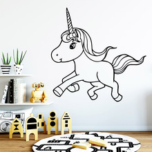 Cute Unicorn Nursery Wall Stickers Vinyl Art Decals For Kids Rooms Diy Home Decoration MURAL Drop Shipping