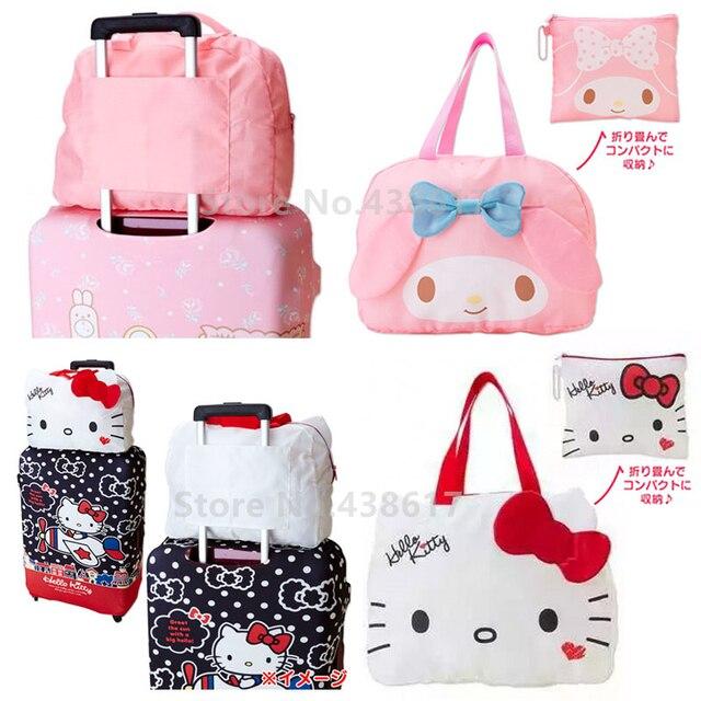 Kawaii Cute Hello Kitty My Melody Foldable Folding Women Travel Bag on Wheels  Cartoon Tote Duffle Bags for Girls Travel Luggage 87f6ebd0eccd4