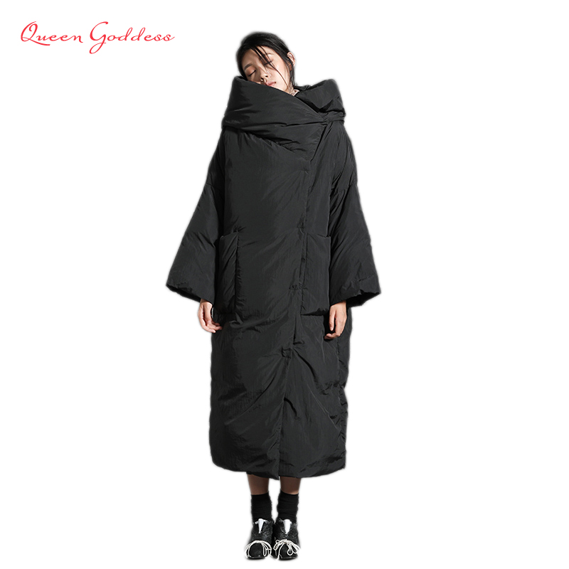 Original Design 90% white duck down womens winter jacket with hooded loose and simple style warm plus size parkas large overcoat