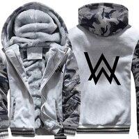 USA SIZE Men's Hoodies Sweatshirts Rock Band Alan Walker Printed Winter Fleece Thicken Hoody Coats Men Casual Camouflage Jackets