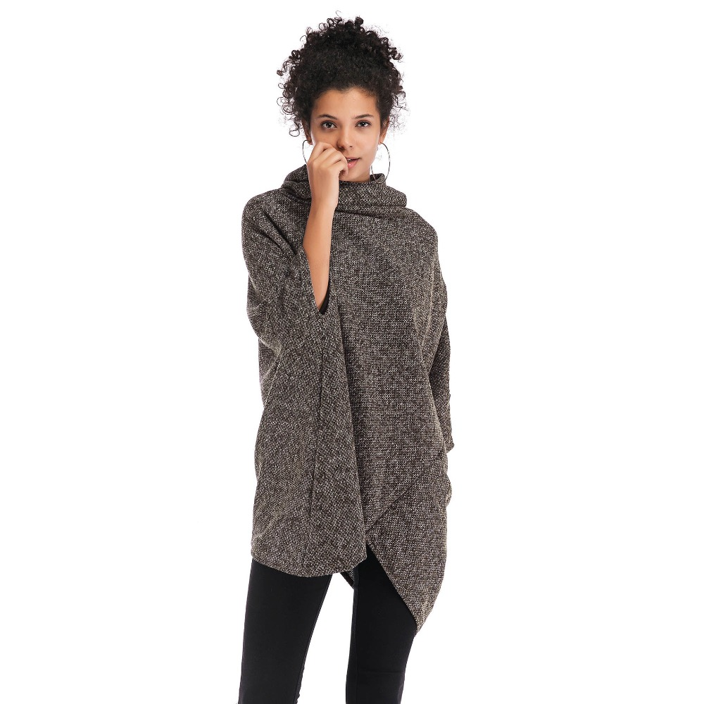 Women Cloak Loose Knitting Woolen Coat Casual irregular Trench Coat Poncho Shawls Winter