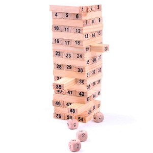 Wooden Tower Wood Building Blocks Toy Domino 54pcs Stacker Extract Building Educational Game Gift 4pcs Dice(China)