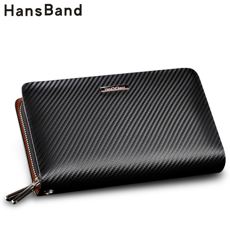 HANSBAND Genuine Leather Bag Men Wallet Fashion Handbags Double Zipper Men Clutch Bags Brand Hand Bag Luxury Business Handbags hansband luxury brand men clutch wallet genuine leather hand bag classic multifunction mens high capacity clutch bags purses