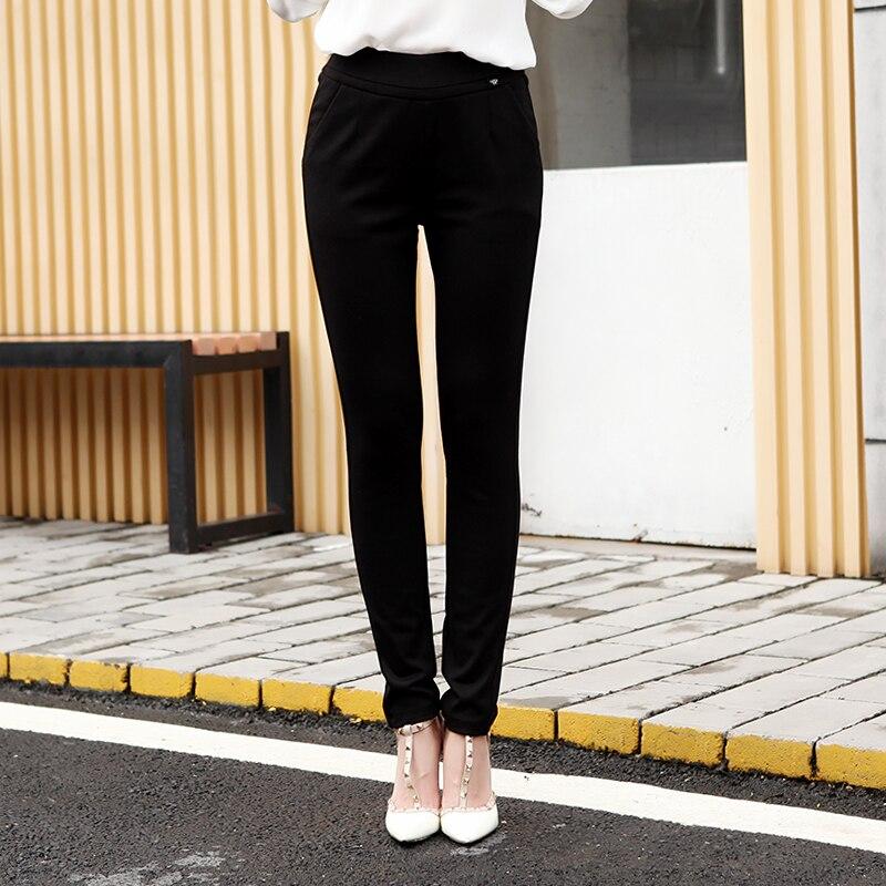 Soie Brossé Femelle Pantalon Mince Élastique Taille Abdomen Épaissie Casual Pantalon