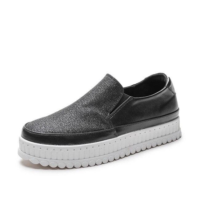 Bling Suela on khaki Plana Mujer Black blue Plataforma Az19 Sanmm Otoño Mocasines Gruesa Zapatos Slip De Primavera Casuales t41FqH