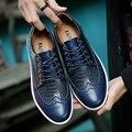 O padrão da moda Serpentina dos homens Oxfords Sapatos de Alta Qualidade de Couro Split Lace Up Low Top de Metal Dedo Do Pé Redondo Sapatos Casuais Para homens