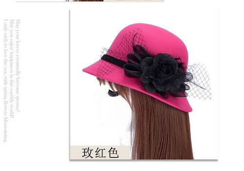 50pcs/lot fedex fast free shipping european style lady sweet fedoras hat casual flower winter hat dome flower hat 58cm