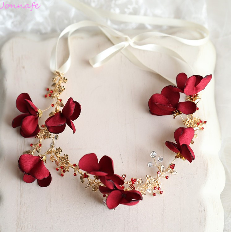 Jonnafe Red Flower Women Tiara Headpiece Handmade Bridal Headband Wedding Hair Accessories Gold Jewelry