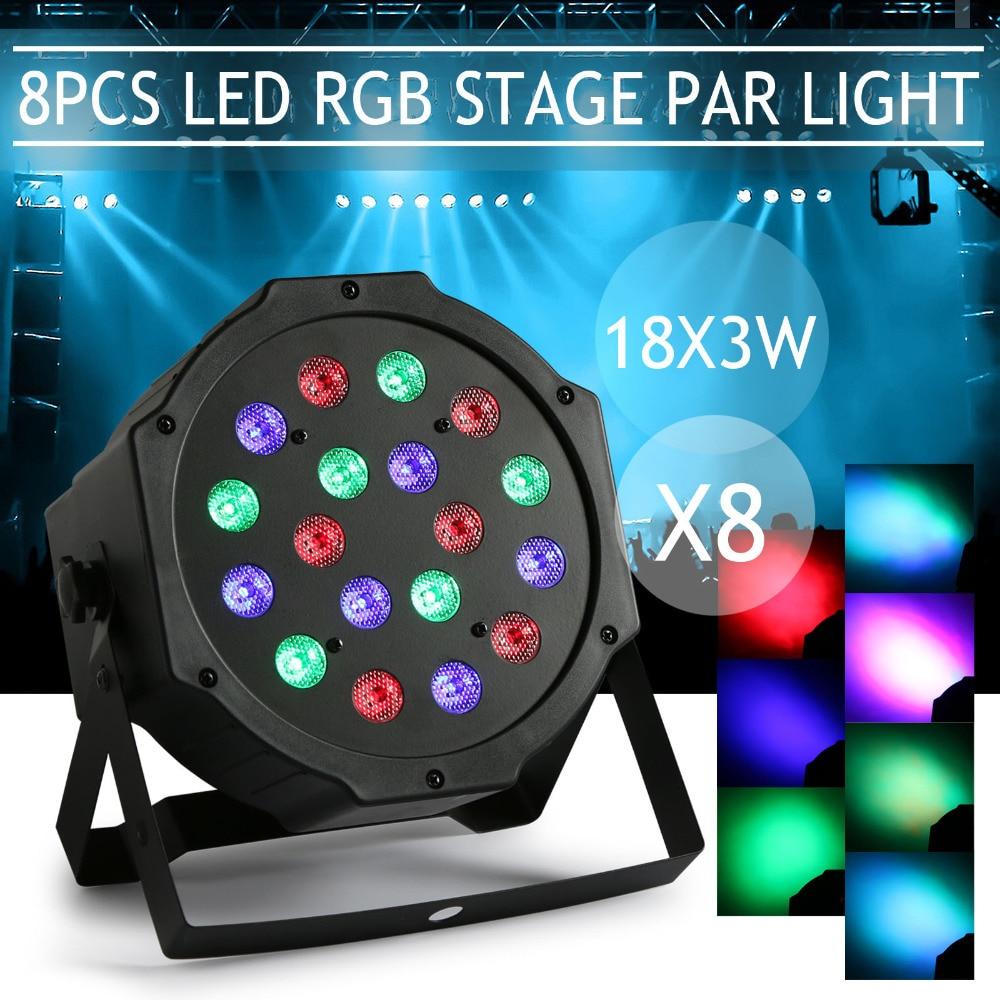 8Pcs Par 18x3W RGB LED Stage Light Uplighting Auto Strobe DJ Bar Color Change Disco KTV