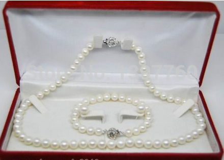 Miss charm Jew.74 Natural 9-10MM AAA white pearl jewelry sets(Necklace&bracelet&Earring)