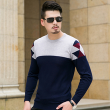 2017 Winter Sweater Men Fashion Patchwork Color Long Sleeve Knitted Pullovers Men Plus Size Autumn Wool Mens Sweaters 8XL 7XL-M