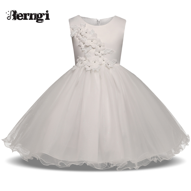 Berngi New Girl lace Appliques princess Dress Beaded sleeveless Kids Birthday Party Dresses for 2-7 yrs 7 colors