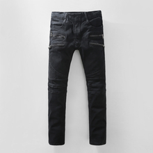 Brand Mens Jeans Straight Ripped Jeans For Men High Quality Button Fly Denim Jeans Men Fashion