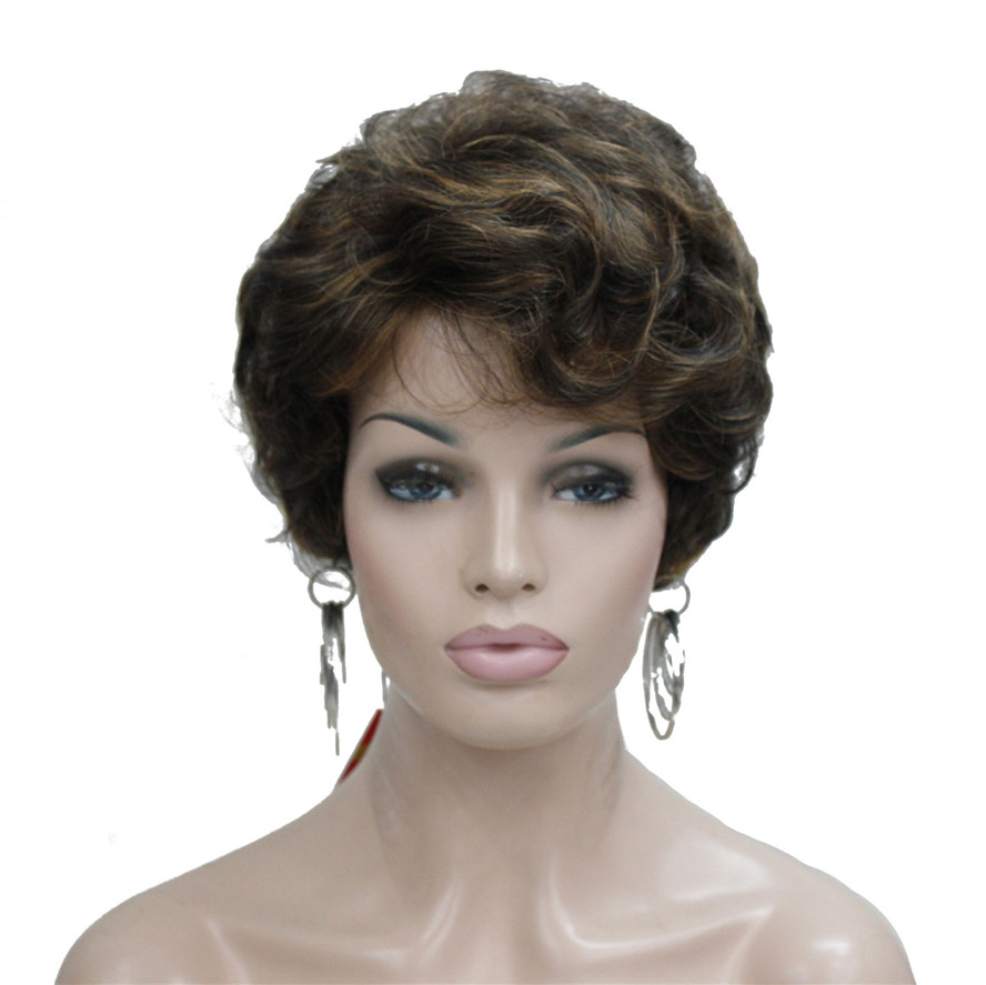 StrongBeauty Women's Wigs Blond Fluffy Naturally Curly Short Synthetic Hair Full Wig 6 Color