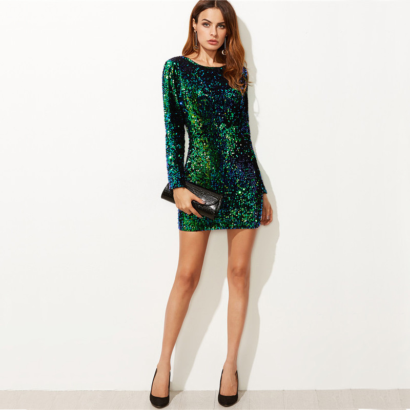COLROVIE Women Dress Elegant Sexy Club Dresses Korean Style Brand Green Iridescent Long Sleeve Sequin Bodycon Dress 10