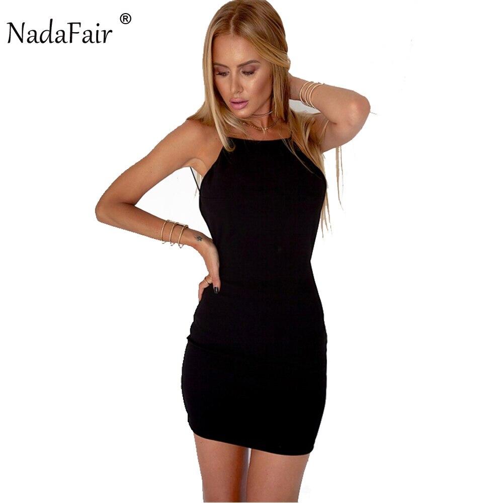 Nadafair 95% Cotton Spaghetti Strap Black Sexy Club Backless Bodycon Dress Women Summer Beach Casual Mini Dress 1