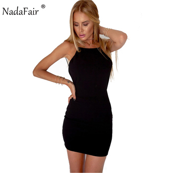 Nadafair 95% Cotton Spaghetti Strap Black Sexy Club Backless Bodycon Dress Women Summer Beach Casual Mini Dress 1