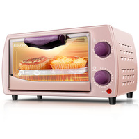 ZA14 3C Pink/black electric oven MINI oven timing 2 layer Cake Makers reflow oven 800W with 2 Stainless steel heating tube 9L