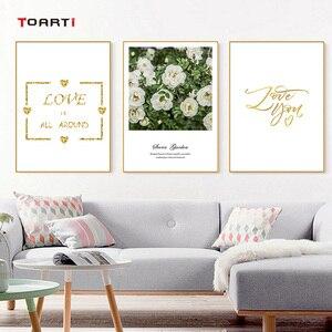 Image 4 - Северные цветы плакаты печать розовые розы холст картина на стене любовь художественная работа с цитатами картинки для гостиной украшение дома