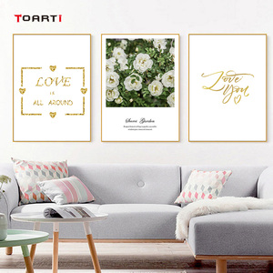Image 4 - Nordic Flowers Posters Prints Pink Roses Canvas Painting On The Wall Love Quotes Art Pictures For Living Room Home Decoration
