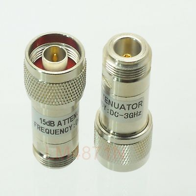 Hot Factory Direct Wholesale 1pce Attenuator 2W 2 Watts DC-3 Ghz 15dB N RF coaxial Power plug M to jack F 50resistanceHot Factory Direct Wholesale 1pce Attenuator 2W 2 Watts DC-3 Ghz 15dB N RF coaxial Power plug M to jack F 50resistance