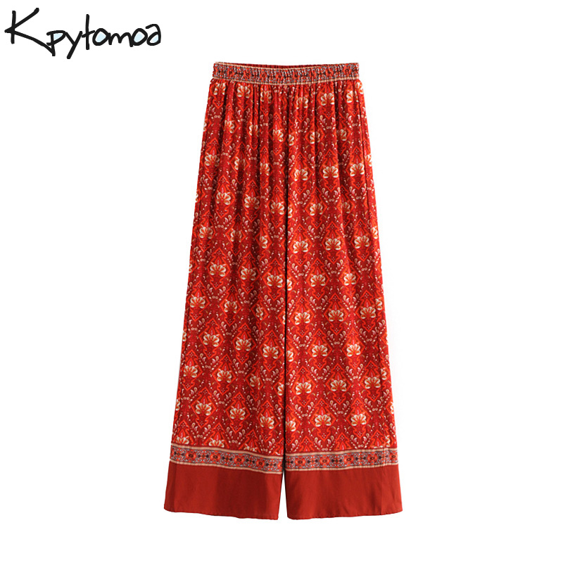 Boho Vintage Floral Print Wide Leg Pants Women 2018 New Fashion Elastic Waist Pleated Loose Trousers Casual Pantalones Mujer