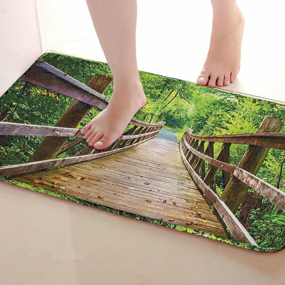 Wooden bridge Style Bathroom Mat,Funny Anti skid Bath Mat,Shower Curtains Accessories,Matching Your Shower Curtain