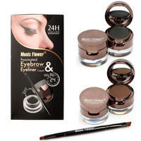 Pro 4 In 1 Eyes Makeup Set Gel Eyeliner Brown Black Eyebrow Powder Make Up Waterproof