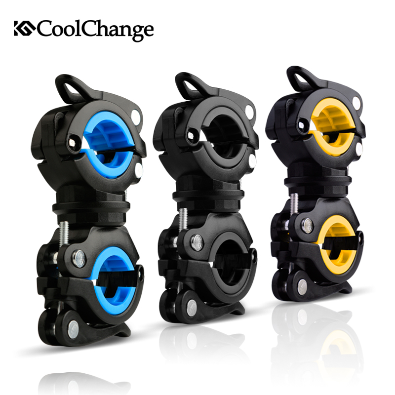 CoolChange Bike Cycling 360 Rotating Light Double Holder LED Front Flashlight Lamp Pump Handlebar Holder Bicycle Accessories pcycling 360 degree rotation cycling bike bicycle flashlight torch mount led head front light holder clip pump handlebar holder