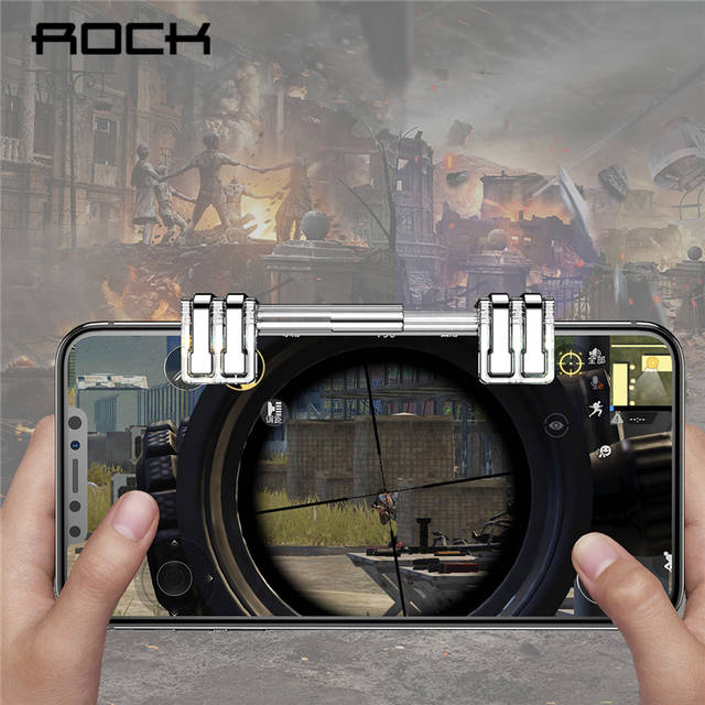 ROCK Retractable L1R1 Mobile Phone Shooting Game Trigger Fire Button Aim  key for PUBG Rules of Survival L1 R1