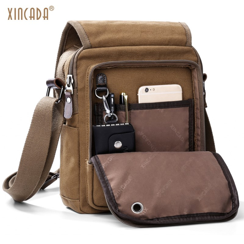 XINCADA Mens Messenger Bag Canvas Shoulder Bags Travel Bag Man Purse Crossbody Bags for Work Business