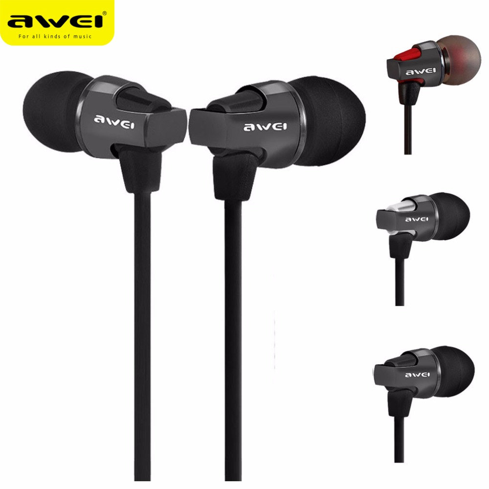 Awei ES860hi In-Ear Earphone Metal Headphones Stereo Headset Heavy Bass Sound Ecouteur Fone De Ouvido Auriculares Audifonos panasonic rp hxs400m a sound rush plus on ear headphones