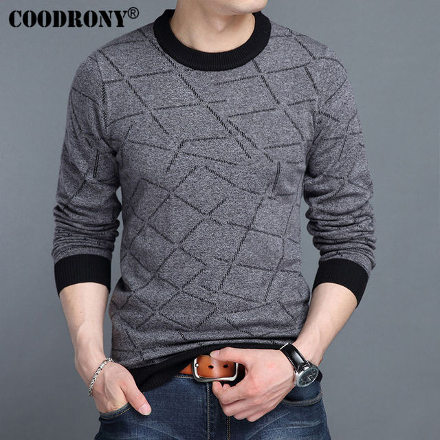 COODRONY 2017 Autumn Winter New Arrival Pure Cashmere Woolen Sweater Men Brand Clothing Casual O-Neck Knitwear Pullover Men 7206