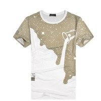 Nowych Koszulek Mężczyźni Drukarnie Mleko Drutu O-Neck Krótkie Rękawy Lato Slim Fit Mężczyźni Koszulki Mężczyźni Top Trójniki Koszule Marki Mody odzież