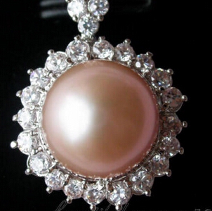 Xiuli 003528 AAA + + 12mm ROND rose PERLE Mosaïque Lotus PENDENTIF ARGENT