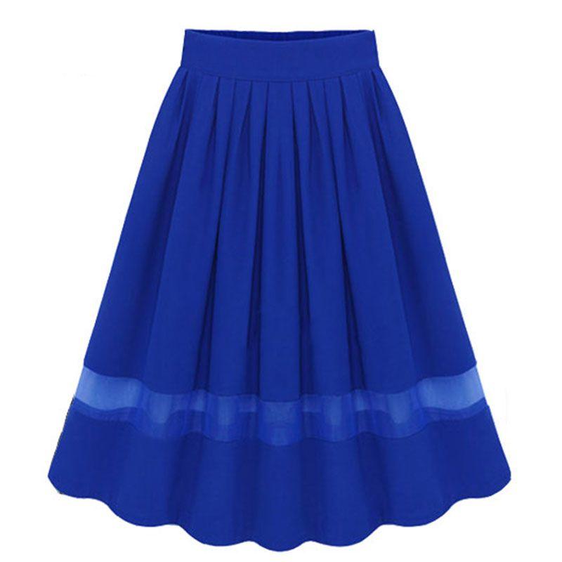 Royal Blue Elegant Patchwork Mesh Pleated Skirts Women European Style Elastic Waist Chiffon Skirt Knee-Length Skirt Female