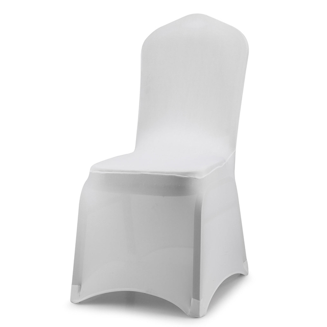 white universal chair covers leather with ottoman costco black polyester spandex for wedding party banquet venue decor