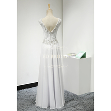 A Line Lace Chiffon Beaded Floor Length Beach Wedding Dress 2017  V Back Bridal Wedding Gown vestido de noiva
