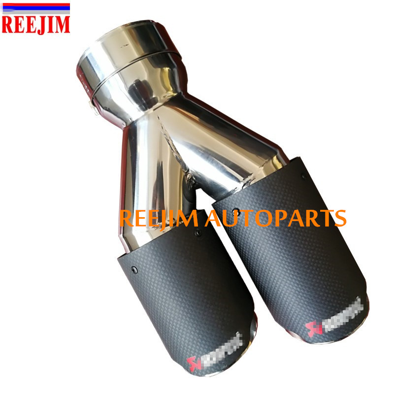 REEJIM Akrapovic exhaust Car Carbon Exhaust Tip exhaust pipe muffler tip Inlet 76mm( 3) Outlet 3 inch(76mm) car-styling