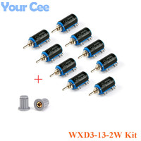 9 PCS 1pc 9Value Wirewound Multi Turn Potentiometers WXD3 13 2W Kit With Button Cap 220R
