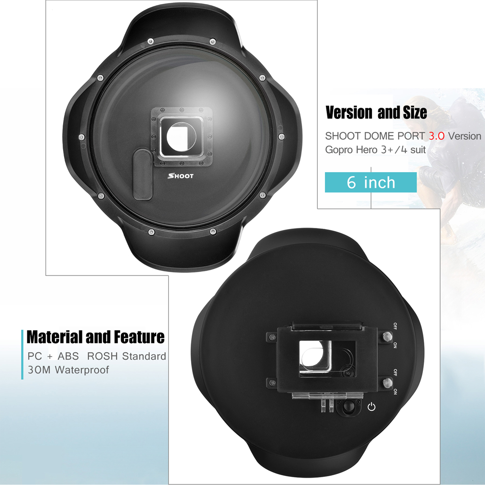 все цены на SALE 2.0 Version 6 inch Diving Underwater Lens Hood Dome Lens Dome Port For GoPro Hero 4 3+ Black Camera Underwater Photography онлайн