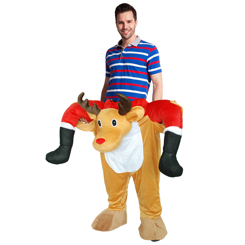 Funny Deer Costume Ride On Me Mascot Animal Pants Carry Back Fancy Up Party Costumes Halloween Christmas Festival Clothes