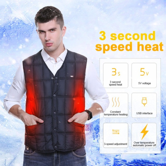 LAMBDA Men Charging Electric Jacket Clothing Skiing Warm Pad Winter Warmer USB