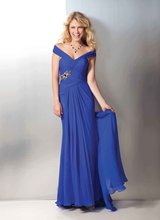 A-214 2013 New Arrival Blue Cap Sleeve Long Formal Evening Dress